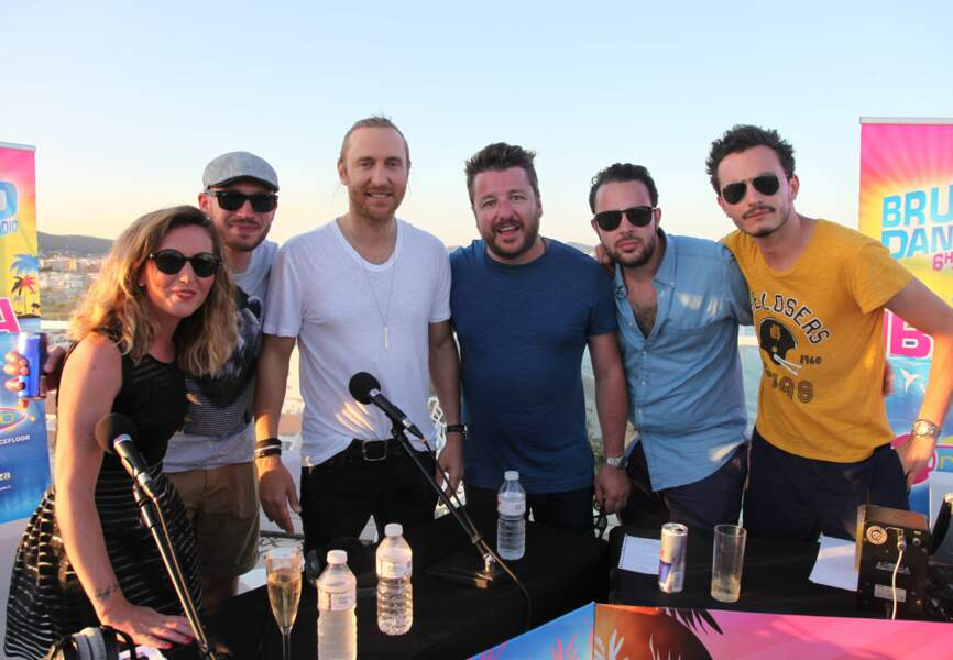 David Guetta avec l'équipe de Bruno dans la radio
