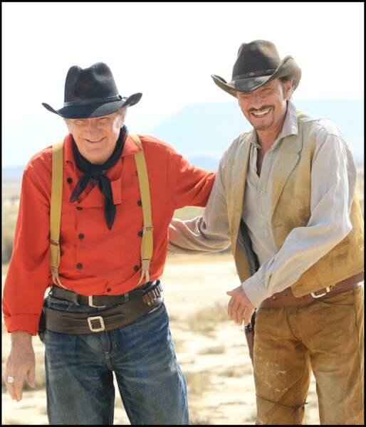 """Eddy Mitchell et Johnny Hallyday sur le tournage du clip """"On veut des légendes"""" en 2006"""