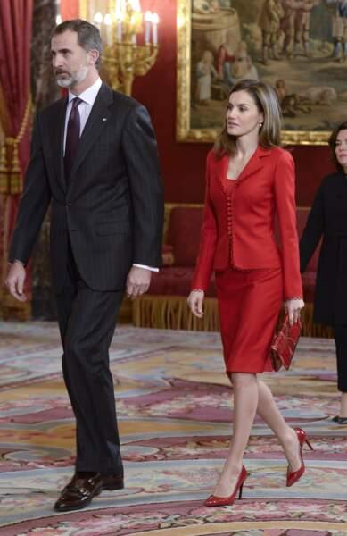 Felipe VI et Letizia d'Espagne le 31 janvier