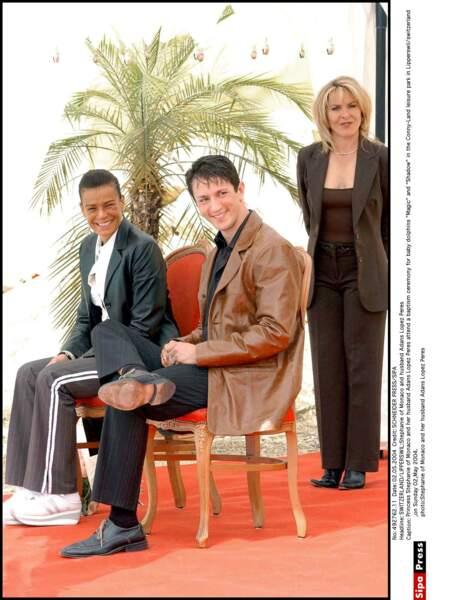 Stéphanie de Monaco et son mari Adans Lopez Pers en Suisse, en 2004