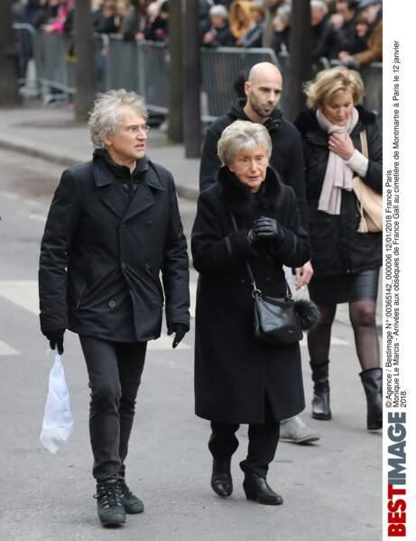 Monique Le Marcis aux obsèques de France Gall au cimetière de Montmartre à Paris le 12 janvier 2018