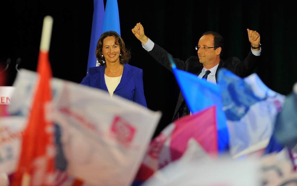Ségolène Royal et François Hollande à Rennes lors d'un meeting pour la campagne présidentielle, le 4 avril 2012