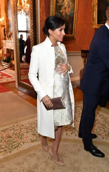 Meghan Markle en robe  pour la réception pour les 50 ans de l'investiture du prince de Galles le 5 mars 2019
