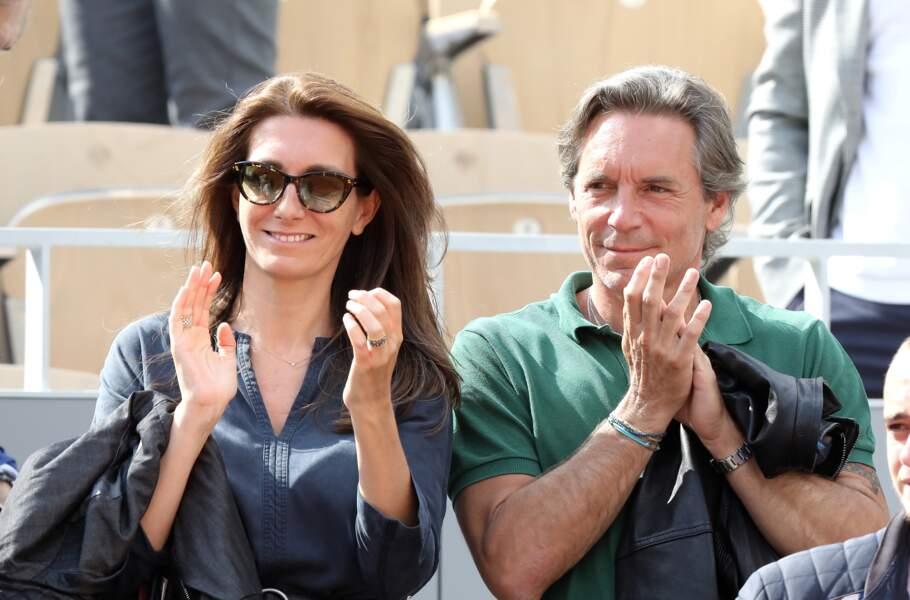 Anne-Claire Coudray et son mari Nicolas Vix encouragent Gaël Monfils à Roland Garros, le 3 juin 2019.