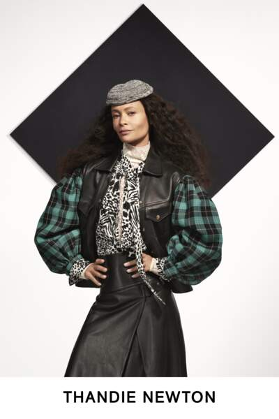 La grande actrice Thandie Newton twiste son look de la collection Pre-Fall de Louis Vuitton avec un air malicieux !