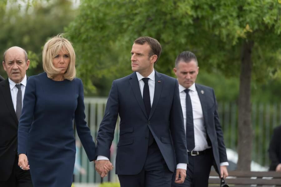 Emmanuel et Brigitte Macron, en visite au parc de la Mémoire de Buenos Aires, le 30 novembre 2018