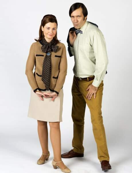 Thierry Samitier avec Christelle Reboul, sa partenaire dans la série Nos chers voisins sur TF1