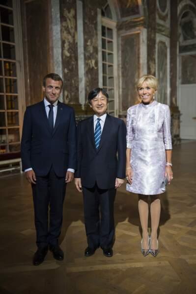 Emmanuel et Brigitte Macron avec le prince héritier du Japon, avant le dîner à Versailles, le 12 Septembre 2018