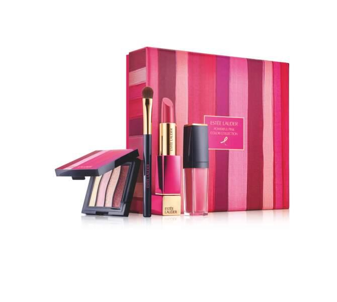 Coffret de maquillage Ruban Rose, Estée Lauder, 50 €, 10%des ventes reversées contre le cancer du sein