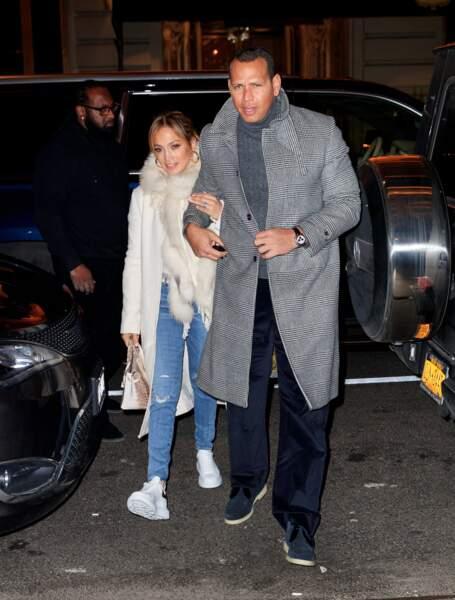 Jennifer Lopez et Alex Rodriguez à New York, dimanche 17 mars