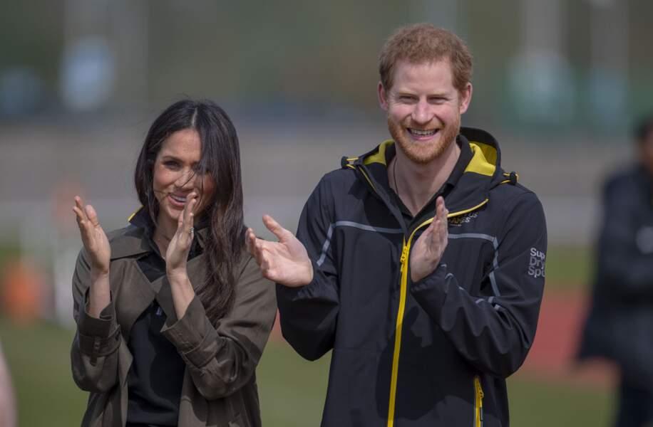 Meghan Markle et le prince Harry lors des Invictus Games à l'université de Bath le 6 avril 2018.