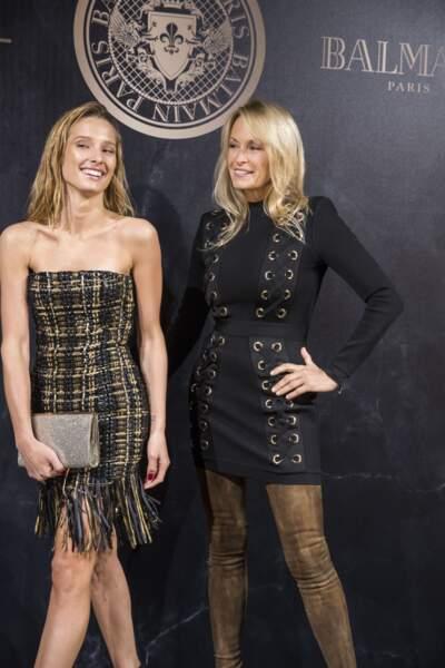 Ilona Smet et Estelle Lefébure lors de la soirée L'Oréal Paris X Balmain le 28 septembre 2017 à Paris