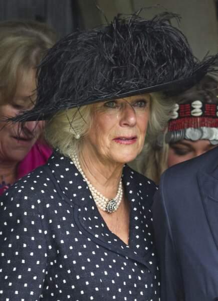 Camilla Parker Bowles lors des obsèques de son frère Mark Shand, le 1er mai 2014