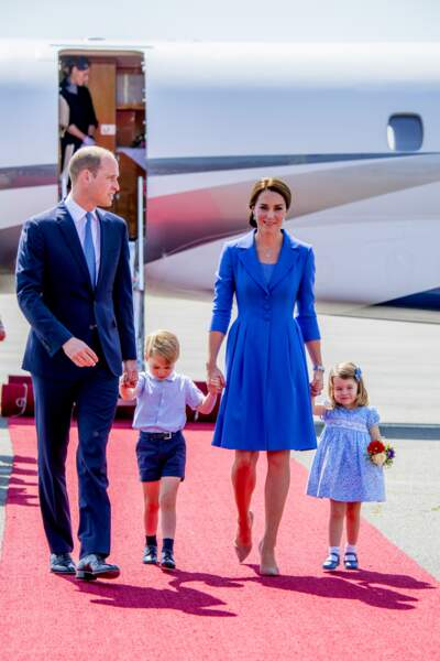 William, George, Kate et Charlotte à leur arrivée à l'aéroport de Berlin le 19 juillet 2017