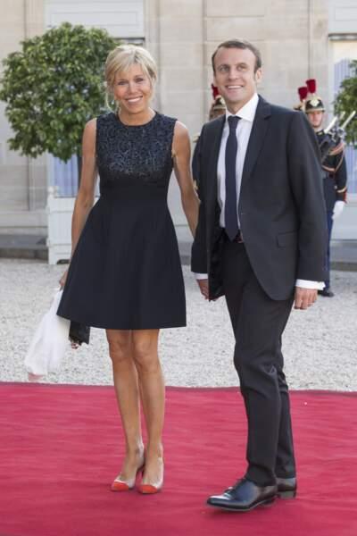 Emmanuel et Brigitte Macron, lors d'un dîner en l'honneur du couple royal espagnol, à l'Elysée le 2 juin 2015