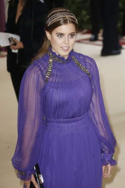 La princesse Beatrice d'York Met Gala en mai 2018 en robe Alberta Ferreti