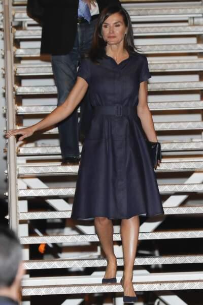 Elle portait une robe en denim signée Carolina Herrera