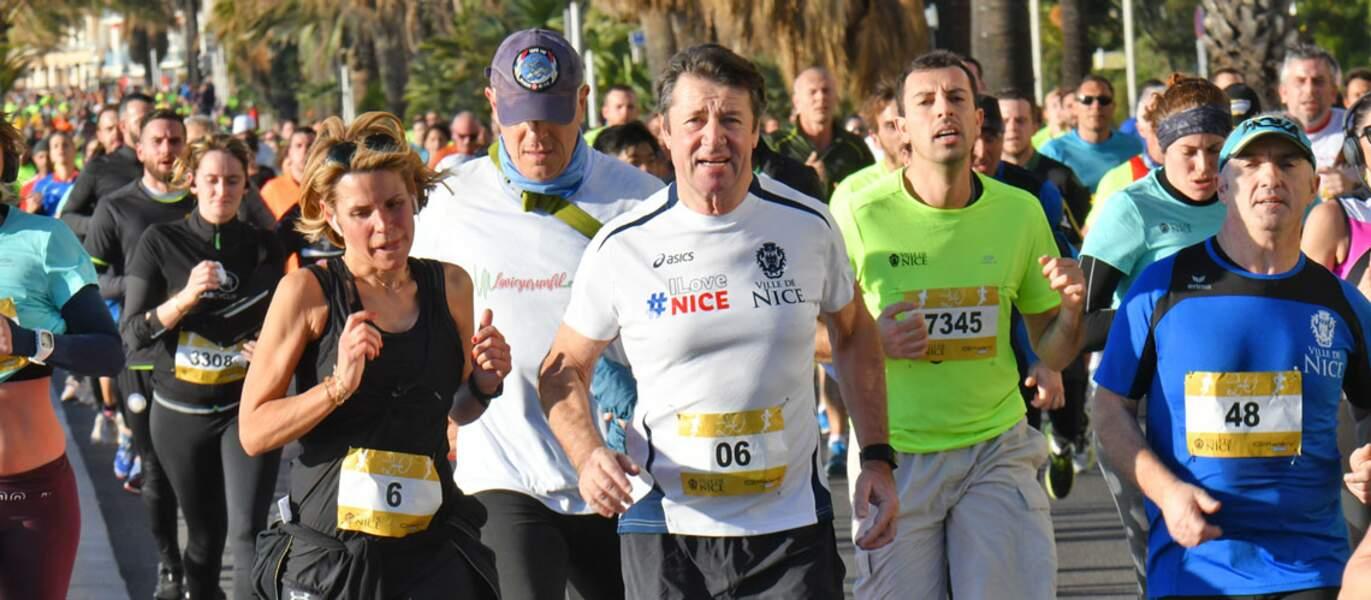 Laura Tenoudji et Christian Estrosi ont couru en janvier lors d'une course de 10 km sur la Promenade des Anglais