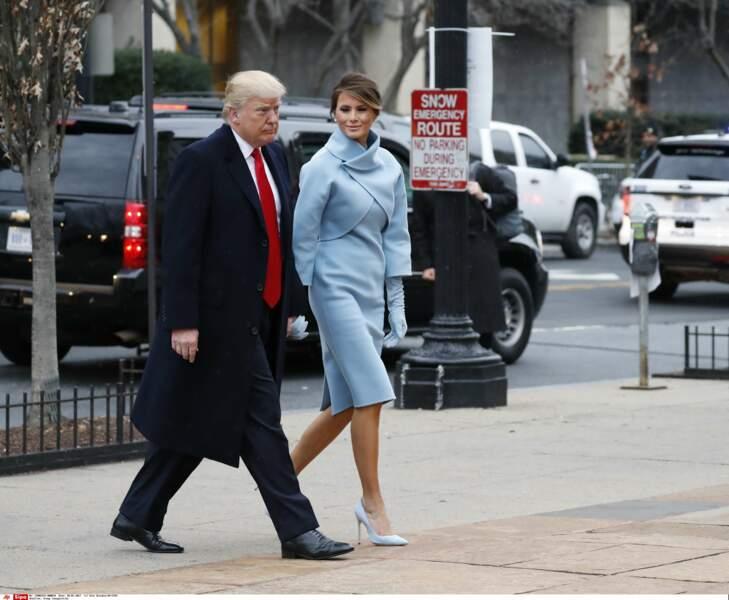 Donald Trump et sa femme Mélania se dirigent vers la Maison blanche