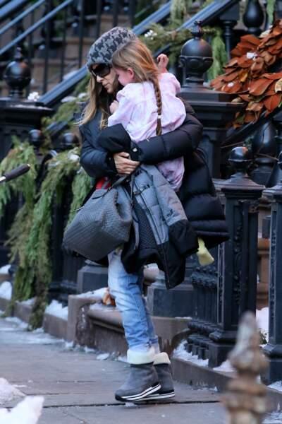 Sarah Jessica Parker etTabithaen hiver à New York.