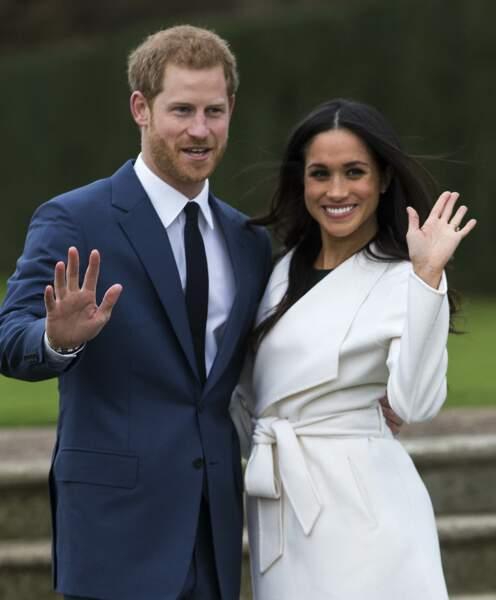 Harry et Meghan à Kensington Palace pour l'annonce de leur fiançailles, le 27 novembre 2017