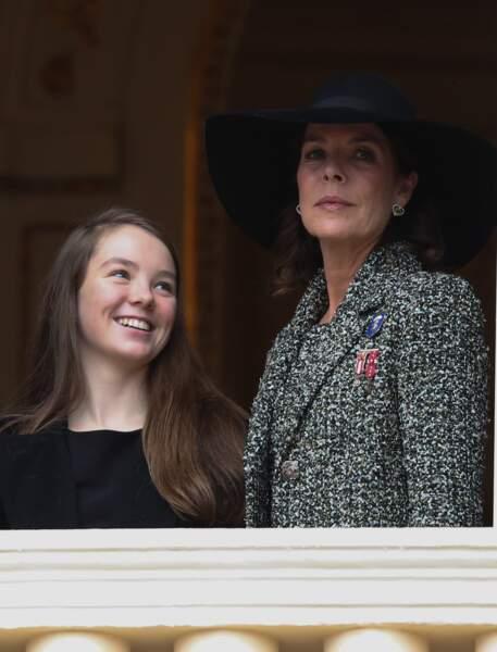 La princesse Alexandra et sa mère Caroline lors de la fête nationale monégasque le 19 novembre 2013