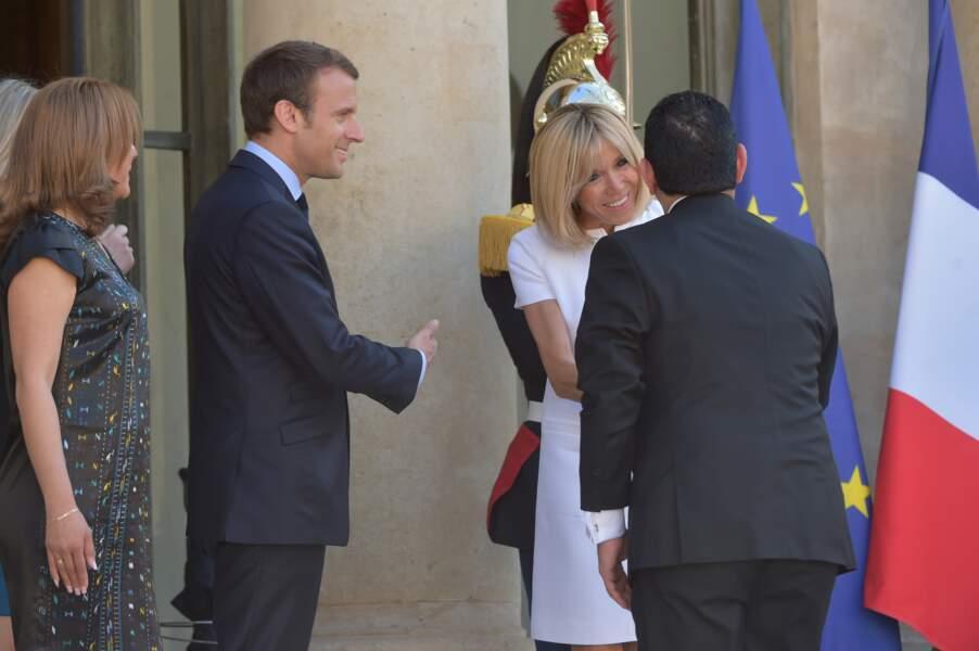 Emmanuel et Brigitte Macron accueillent Jimmy Morales et sa femme, la première dame Hilda Patricia Morales