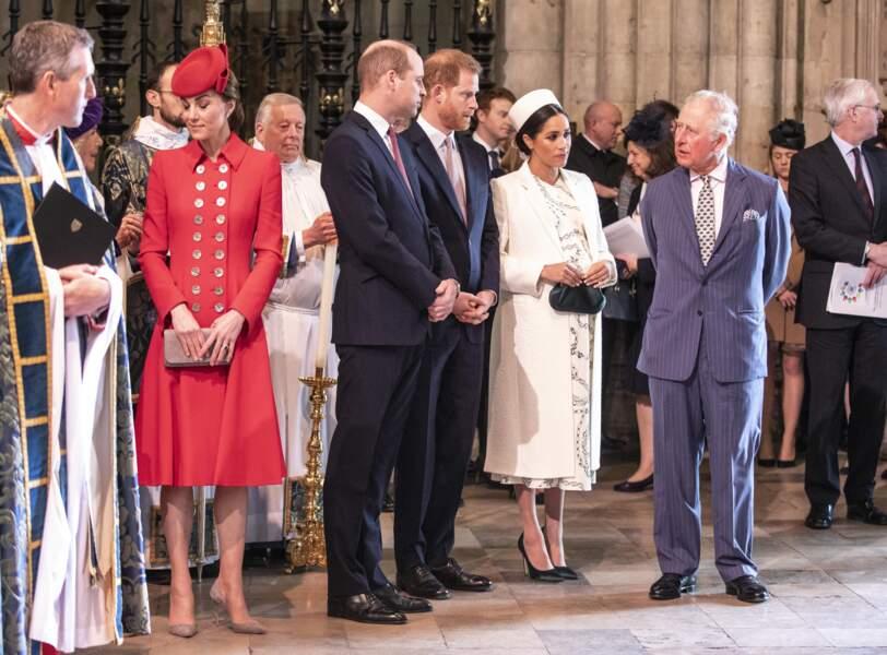Kate, William, Harry, Meghan et Charles à l'abbaye de Westminster à Londres, le 11 mars 2019
