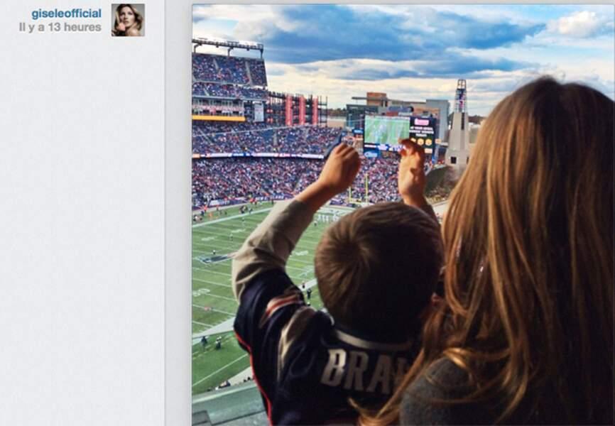 Gisele Bundchen et son fils Benjamin soutiennent leur héro, Tom Brady