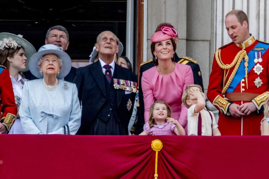 """George et Charlotte impressionnés par la parade """"Trooping The Colour"""" à Londres le 17 juin 2017"""
