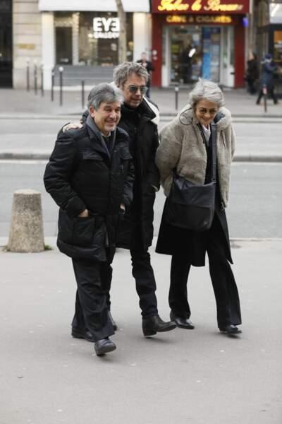 Jean-Luc Monterosso, Jean-Michel Jarre et Charlotte Ramplin aux obsèques de Henry Chapier