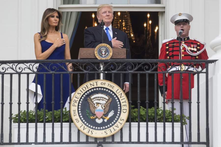 Pour l'occasion, Donald Trump a donné un discours sur le balcon de la Maison Blanche