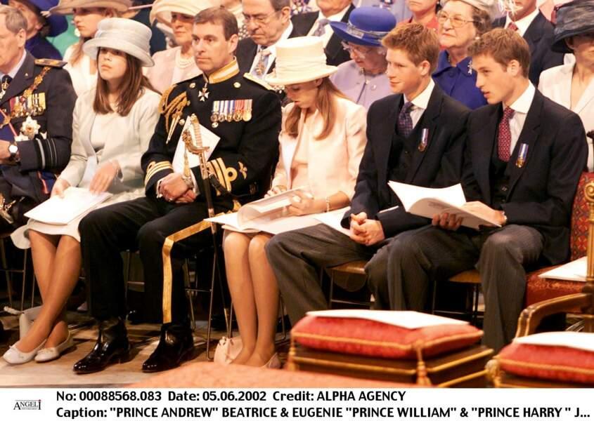 Eugénie d'York et Béatrice d'York, avec leurs cousins, les princes William et Harry, en juin 2002
