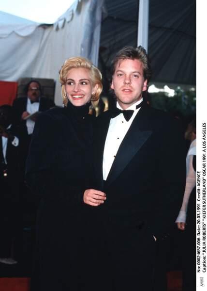 En 1991 à la cérémonie des Oscars avec son compagnon, le comédien Kiefer Sutherland