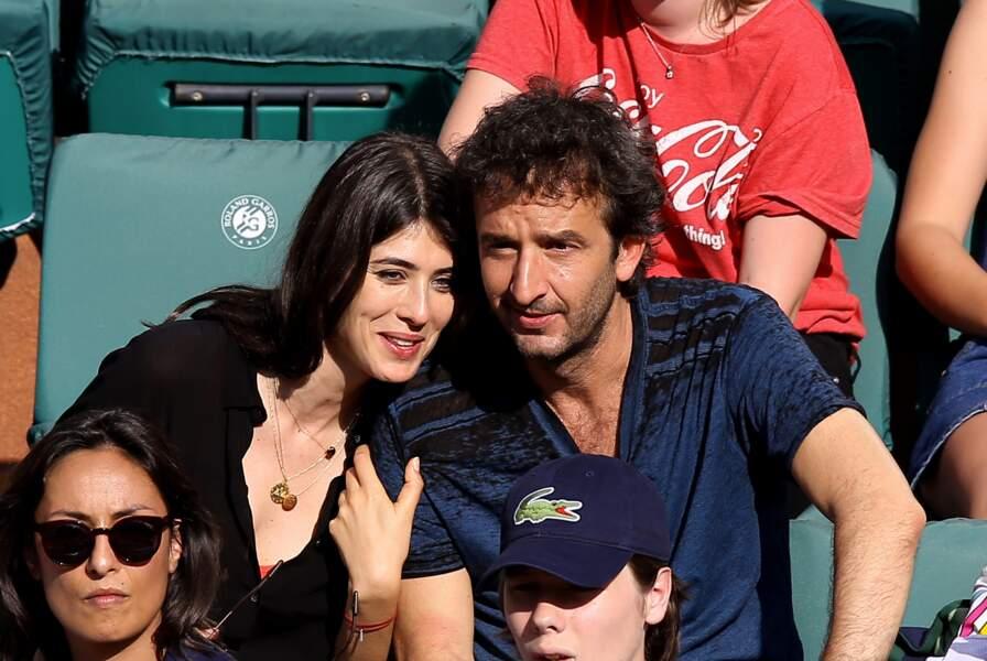Cyrille Eldin et sa compagne Sandrine Calvayrac à Roland Garros le 30 mai 2018