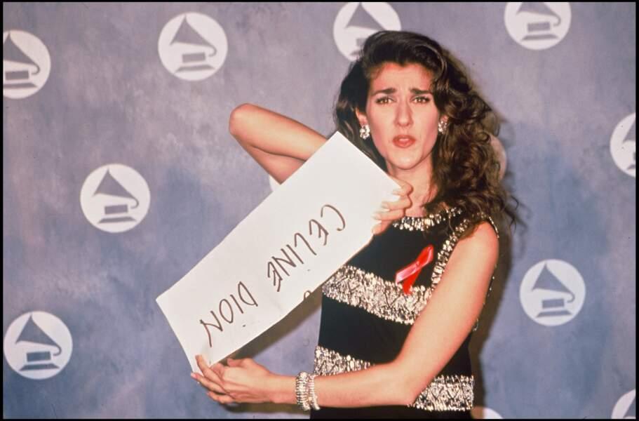Célion Dion à la soirée des Grammy Awards en 1992