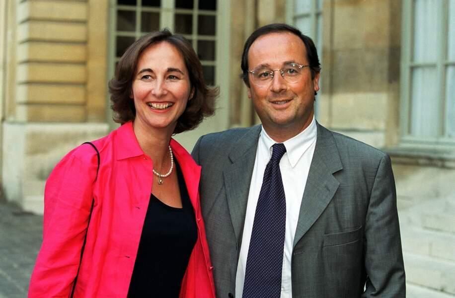 Ségolène Royal et François Hollande à Matignon lors du dîner des ministres de Lionel Jospin, le 28 Juillet 1999