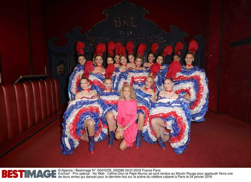 Céline Dion et les danseuses du Moulin Rouge, le 24 janvier 2019