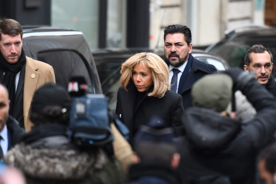 Brigitte Macron très sobre aux obsèques de Michel Legrand en la Cathedrale orthodoxe Saint-Alexandre-Nevsky à Paris