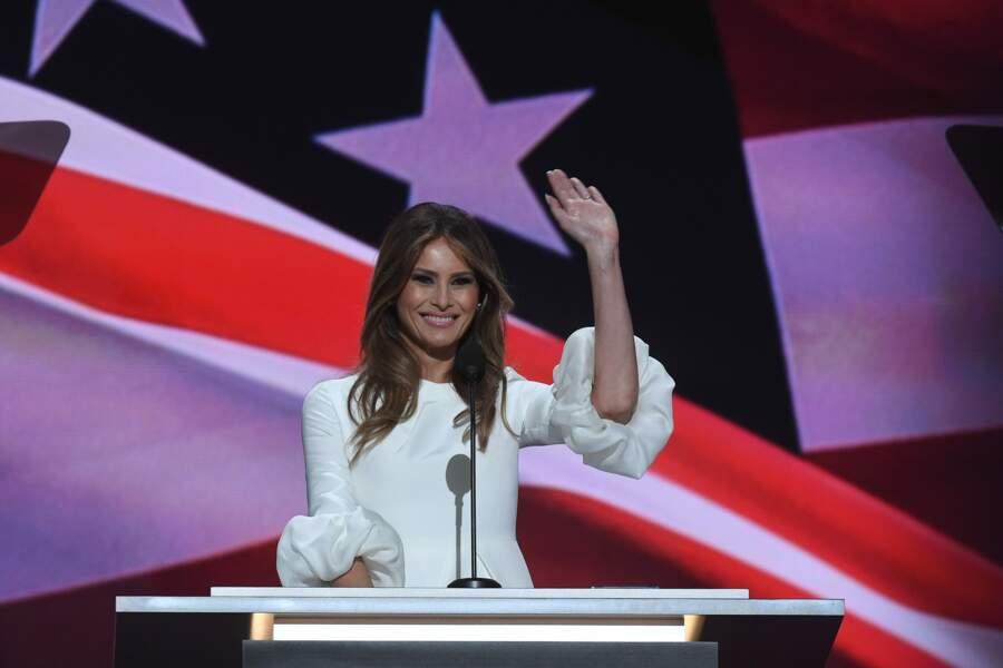 Melania Trump lors du premier soir de la convention républicaine à Cleveland. Le 18 juillet 2016