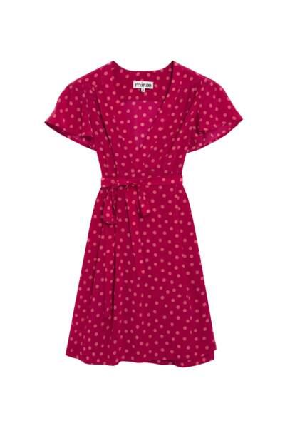 A volants, robe Julia fuschia à pois MIRAE, 185 € (miraeparis.com)