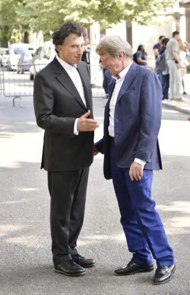 Jack Lang et Bernard Kouchner à l'enterrement du réalisateur Claude Lanzmann le 12 juillet