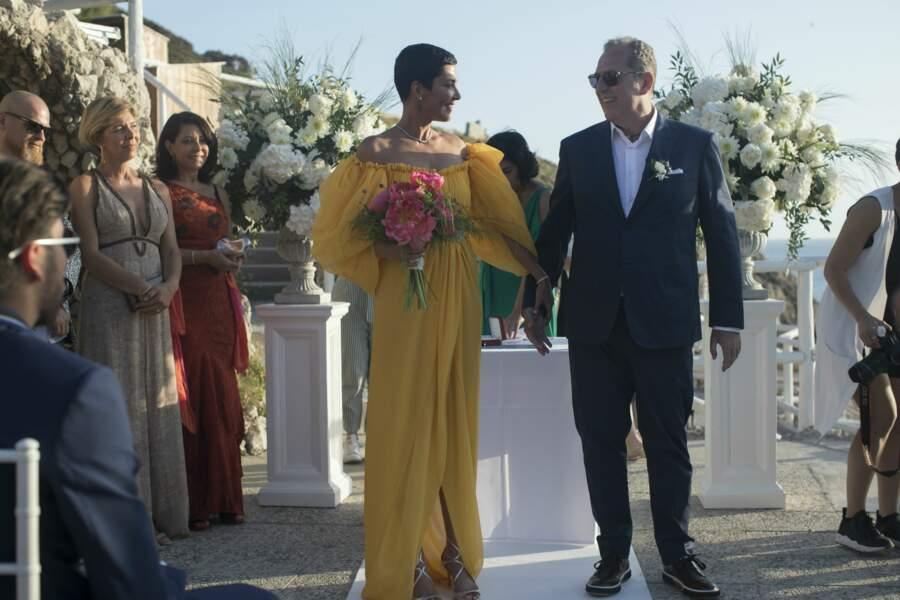 Cristina Cordula sublime dans sa robe jaune signée Giambattista Valli vient de dire oui à Fredéric Cassin