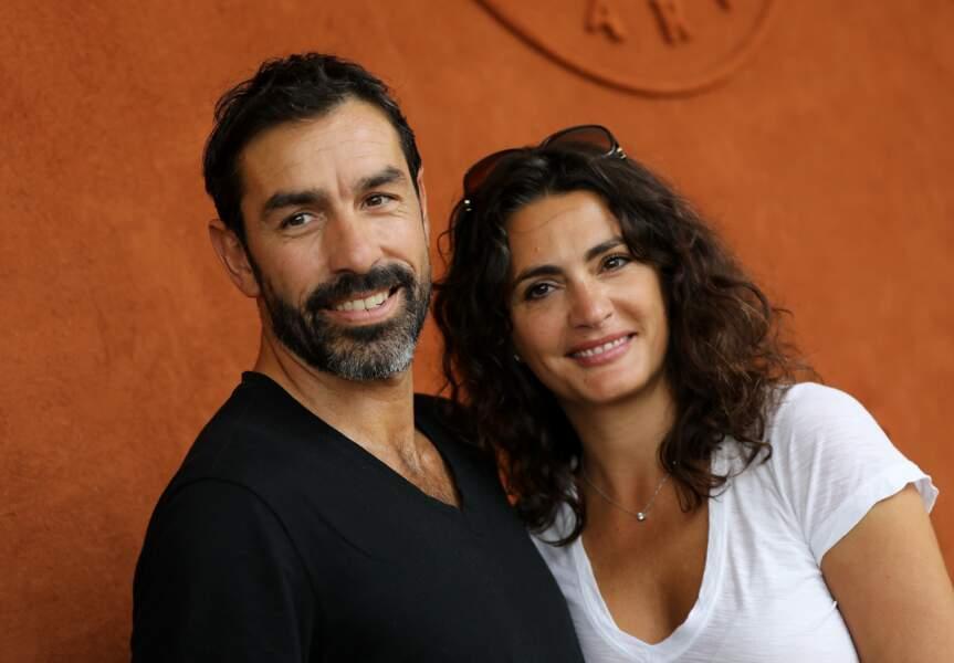 Robert Pires et sa femme Jessica au village de Roland Garros le 31 mai 2018