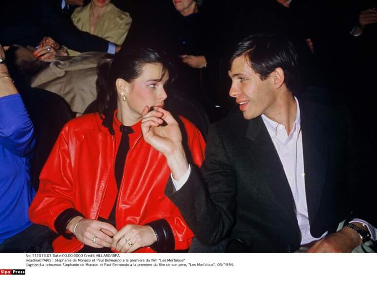 Stéphanie de Monaco et Paul Belmondo un couple très complice, en 1984 à Paris