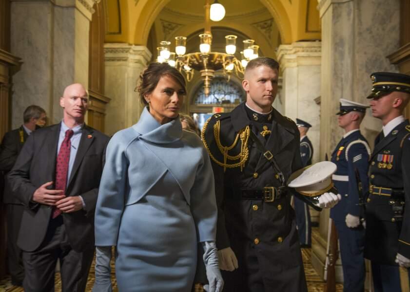 Melania Trump en ensemble Ralph Lauren pour l'investiture de Donald Trump le 20 janvier 2017 à Washington