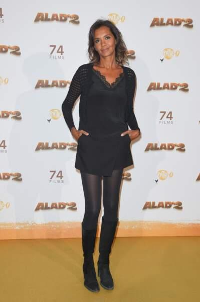 """Karine Le Marchand (50 ans), au photocall du film """"Alad'2"""" au Grand Rex à Paris en 2018"""