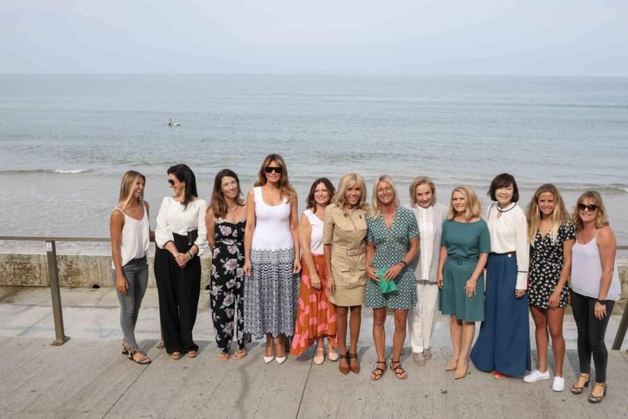 Melania Trump en compagnie des autres conjointes de chefs d'Etat en marge du G7 ce lundi 26 août à Biarritz.