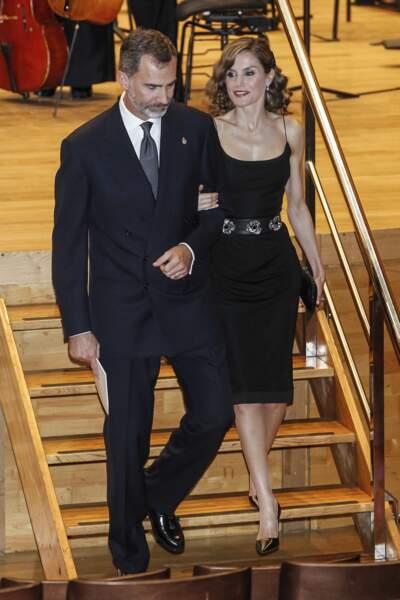 Le Roi Felipe VI et la Reine Letizia d'Espagne, au concert du prix des Asturies, le 20 Octobre 2016