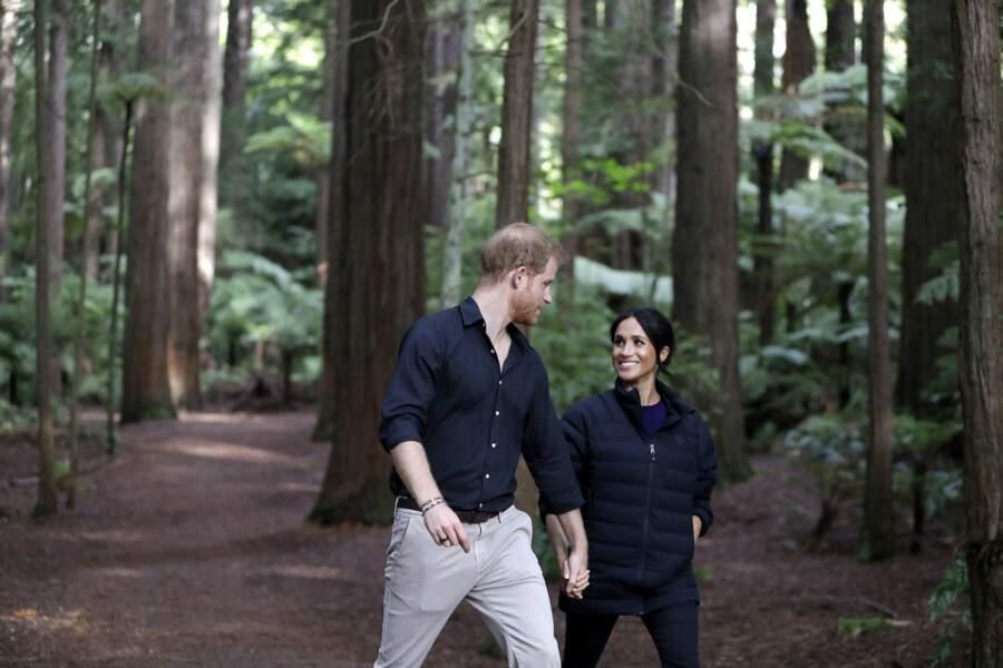 Meghan et Harry lors de leur voyage en Nouvelle-Zélande, octobre 2018.